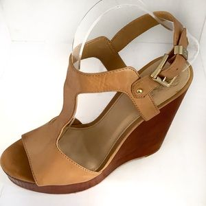 Vince Camuto Mathis Wooden Wedge Leather Sandal 9M